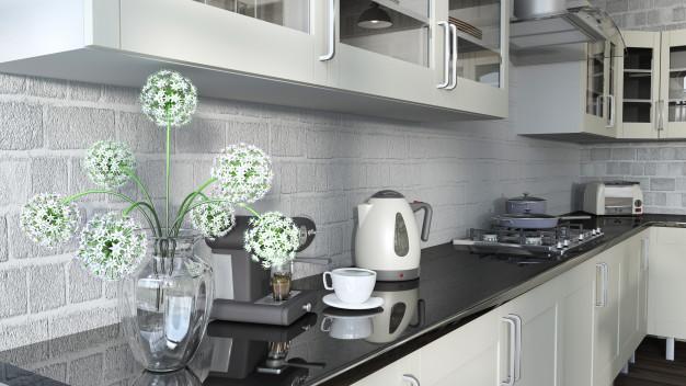 marmorplade i køkkenet